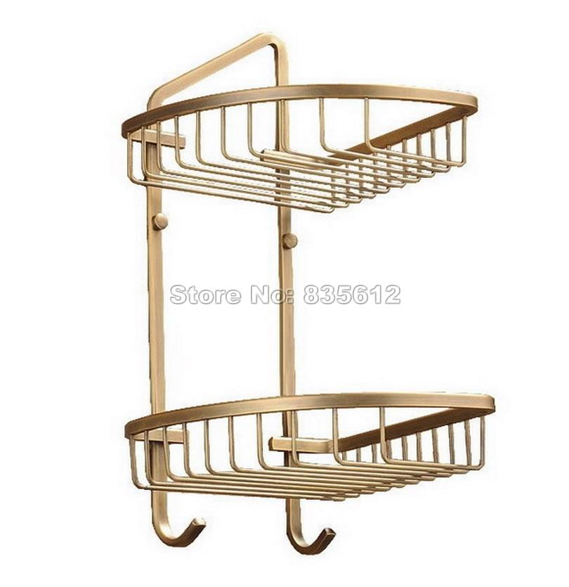 ⊹2 Tier Antique Brass Wall Mounted Bathroom Large Corner Shower ...