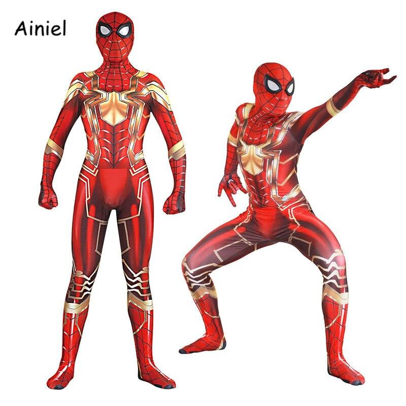 Ainiel Kids Adult Iron Spider Man Cosplay Zentai Spiderman Costume Superhero Bodysuit Suit Jumpsuit Halloween Party