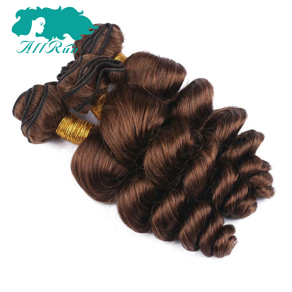 Allrun Hair Peruvian Loose Wave 2/3 Bundles with Lace Closure 33# Human Hair In Extension 100% Peruvian Non Remy Hair