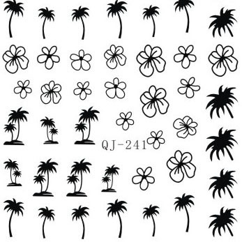 3 sheet 12 type Coconut tree Letter Nail Water Stickers