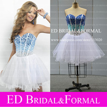 Real Sample Bild Foto Short Prom Dresses Tulle Schatz Schweres Wulstiges Sparkly Homecoming Party Kleid