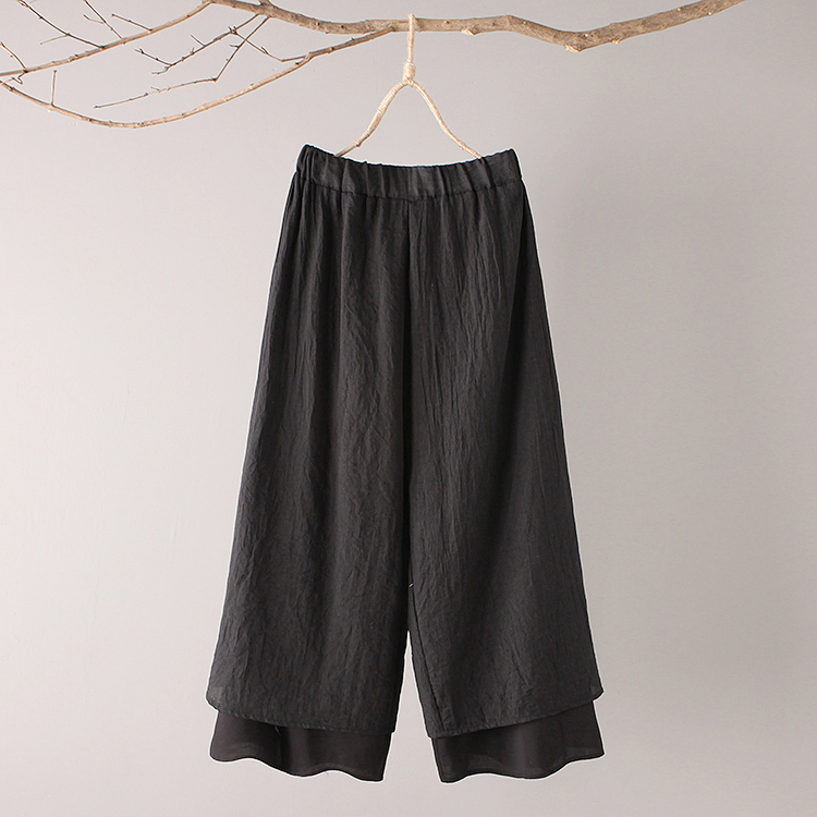 Original Design 2018 Spring Summer New Literary Vintage Elastic Waist Solid Color Double Layer Cotton And Linen Wide Leg Pants 4