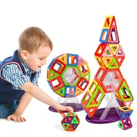 47Pcs/Lot Magnetic Designer Building Blocks Models Windmill Rocket 3D DIY Plastic Creative Bricks Learning Educational Kid Toys