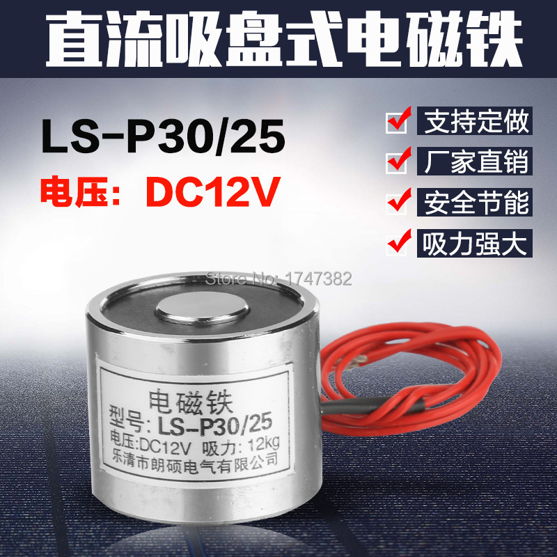 P30/25 Holding Electric Magnet Lifting 12KG Solenoid Holding Solenoid Electromagnet DC 12V 24V