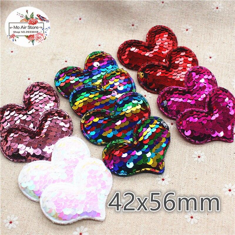 6 см Нетканые paillette сердце патчи блеск войлочные аппликации для одежды швейные принадлежности DIY ремесло орнамент