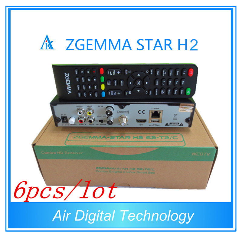 6pcs/lot wholesale price Original zgemma-star H2 combo DVB-S2 with Hybrid DVB-T2/C enigma2 tv box zgemma h2 Satellite Receiver 5pcs lot best offer 751mhz cpu zgemma star h2 hd combo dvb s2 dvb t2 c satellite receiver low cost in stock now