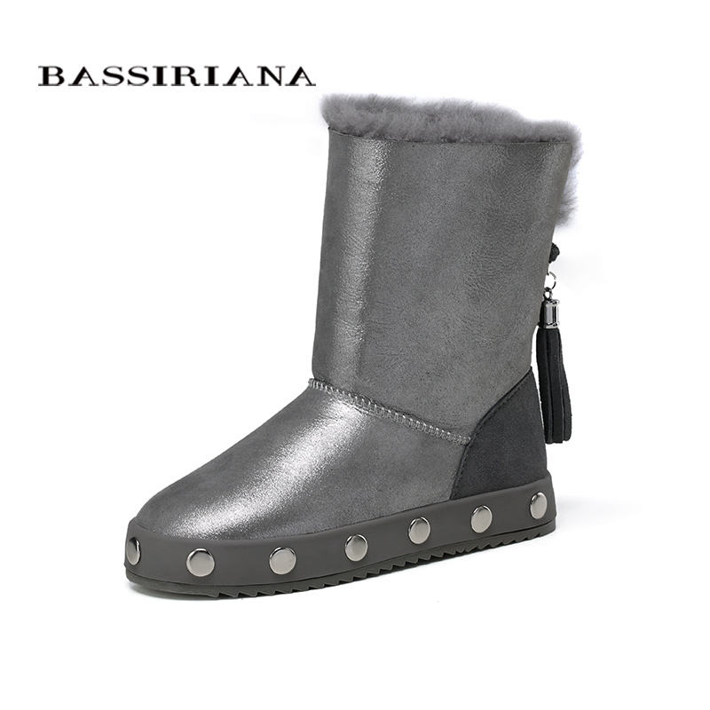 Здесь можно купить   BASSIRIANA - genuine sheep fur leather snowboots for winter Womans winter shoes Warm fashion boots Free shipping Обувь