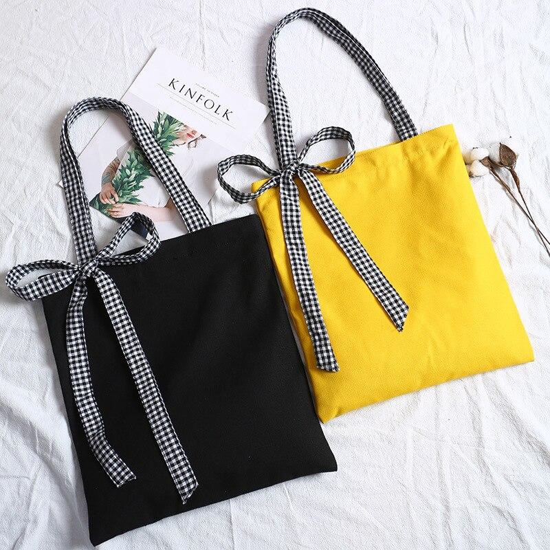 Canvas Handbags Messenger-Bags Zipper Female Fashion Women Summer Bow Plaid for Casual