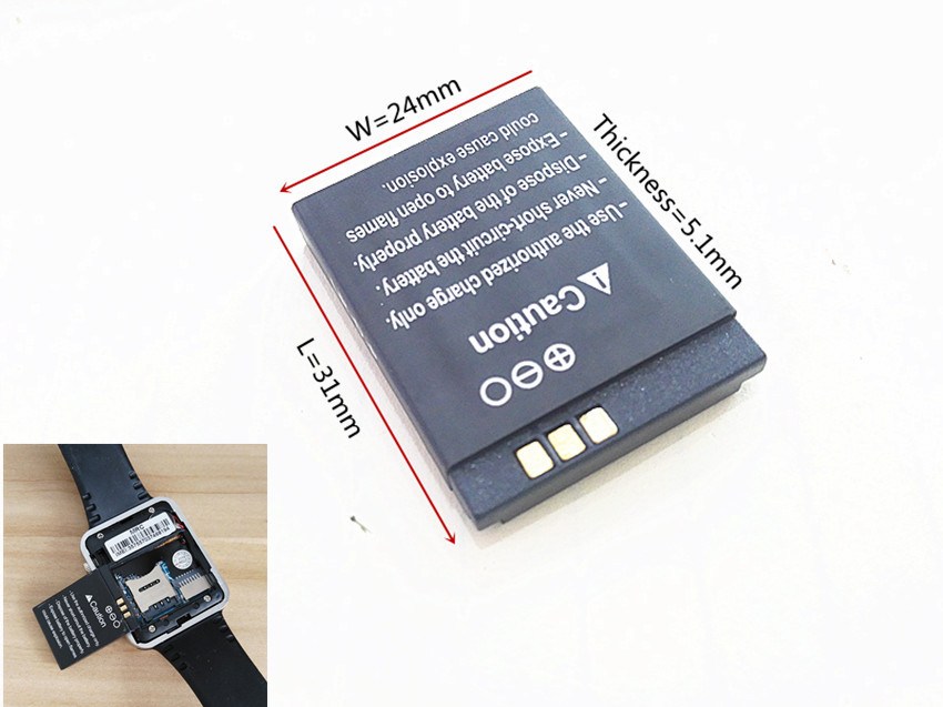 Original rechargeable Li-ion Battery 3.7V 380MAH Smart Watch Battery Replacement Battery ...