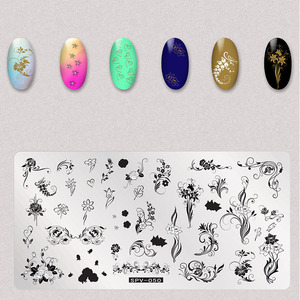 Image 4 - 1Pcs Trockene Blumen Nail Stamping Platten Blätter Bild Rechteck Nail art Stempel Platte Maniküre Vorlage Schablonen Werkzeuge