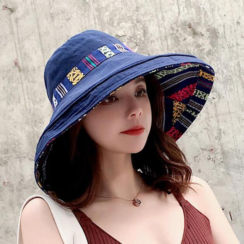 HTB1vYuybyDxK1RjSsphq6zHrpXae - Double sided irregular Pattern Bucket Hat Women Summer Cotton Breathable Leisure Bob Caps Outdoor Sports Casual Dome Panama Cap