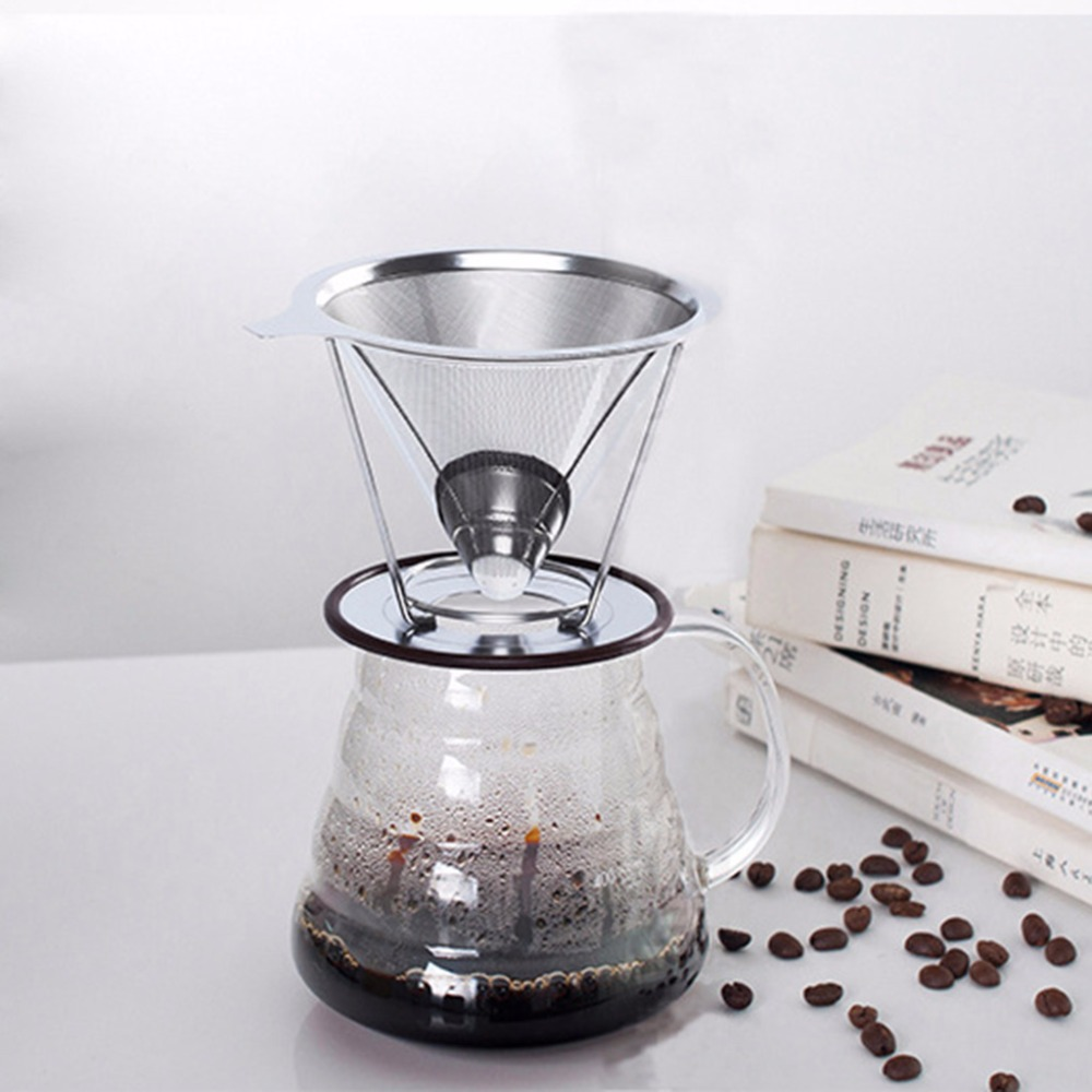 Stainless Steel Mesh Strainer Baskets Coffee Filter Reusable Cone Coffee Dripper durable quality dual layer solid stainless steel coffee filter dripper refillable holder handle