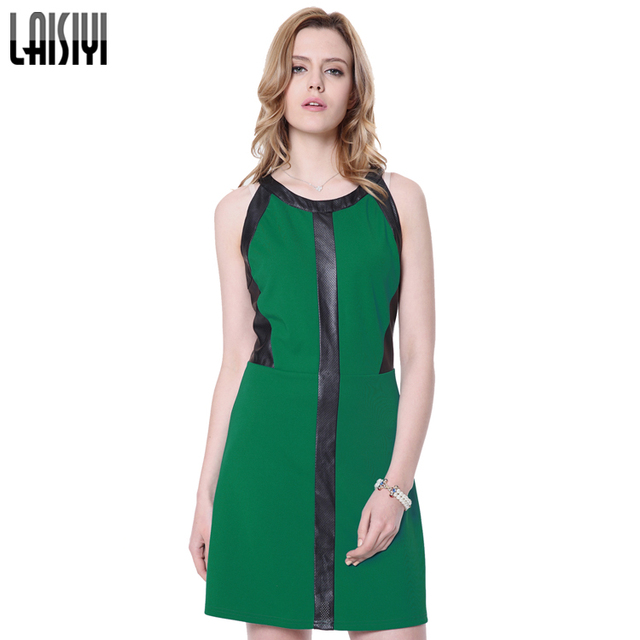 LAISIYI Women sexy dress elegant Sleeveless Patchwork Leather Backless  Green Work Dresses OL hollow out dress ladies DR10061 ddccb4e9210f