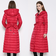 Зимний пуховик женщин пальто 5 цвета куртки mujer Большой размер длинный тонкий белая утка пуховик С Капюшоном Тонкий женский пальто