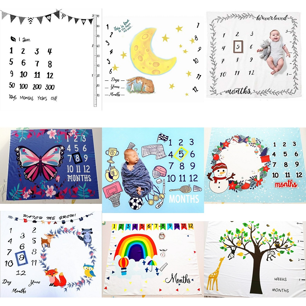 Cute Multi-Function Baby Play Mats Infant Portray Blanket Bed Room Wall Decor Background Blankets Baby Milestone Photo Props(China)