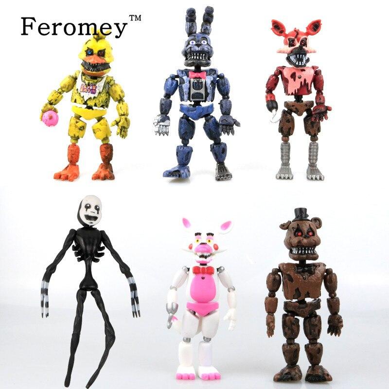 New 6pcs/Set Five Nights At Freddy's Action Figure Toys FNAF Chica Bonnie Foxy Freddy Fazbear Bear Anime Figures Freddy Toys Hot