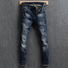 Fashion Classical Men Jeans Slim Fit Retro Washed Ripped Jeans Men Distressed Hip Hop Pants Italian Style Vintage Designer Jeans