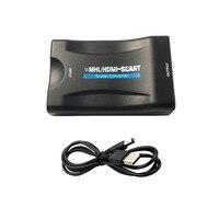 USB 1080 P כבל HDMI ל SCART וידאו ממיר אודיו סטריאו מתאם עבור K5 תיבת שמי HD טלוויזיה DVD STB עם מתאם מתח