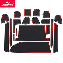 smabee Gate slot pad For TOYOTA VOXY NOAH 80 85 A series of 2015-2017 Interior Door Pad/Cup Dust mats  Non-slip 19PCS red white