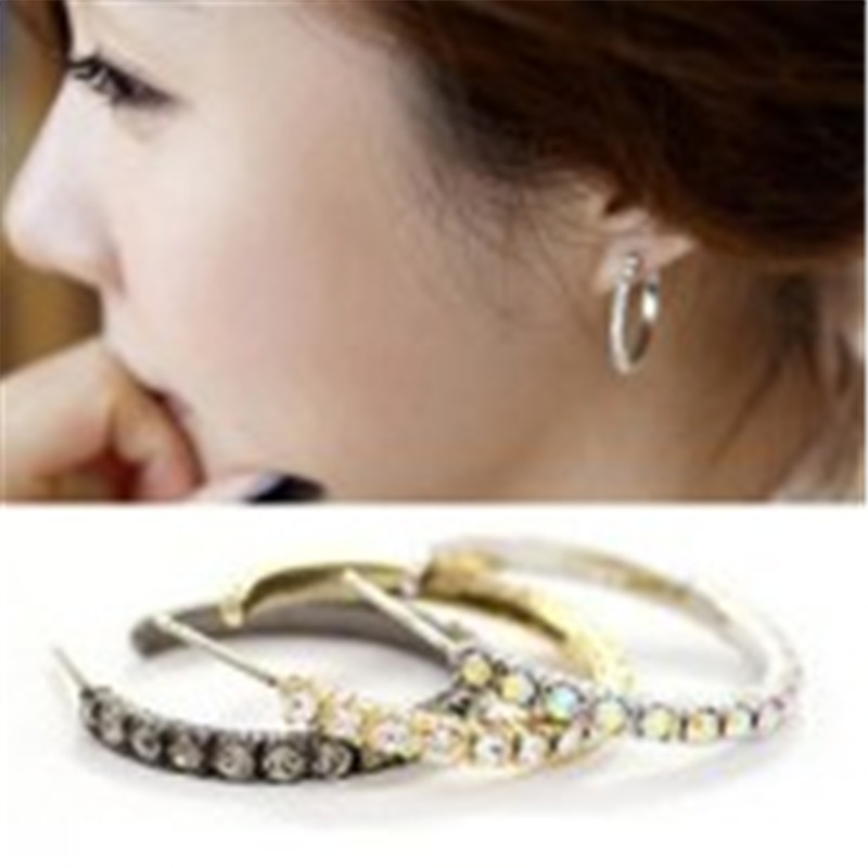 Crystal jewelry wholesale fashion personality ear ring earrings earrings Korean version of the single row Crystal earrings