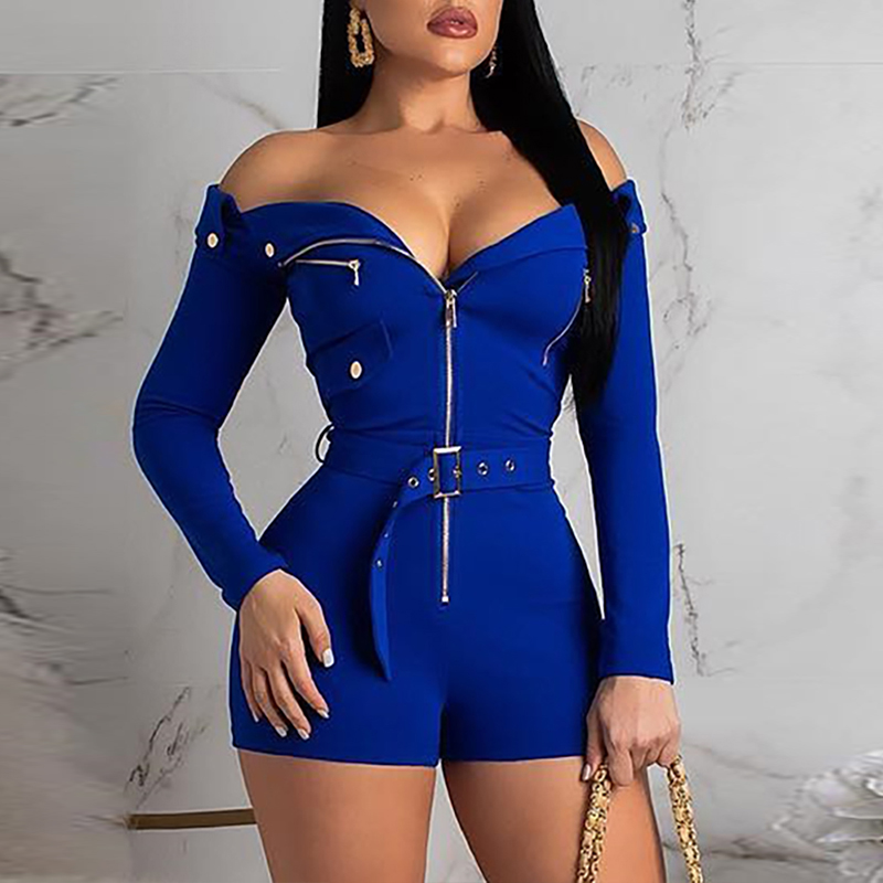 Sexy Off Shoulder Zipper Design Romper Playsuits Long Sleeve Playsuits combinaison pantalon femme