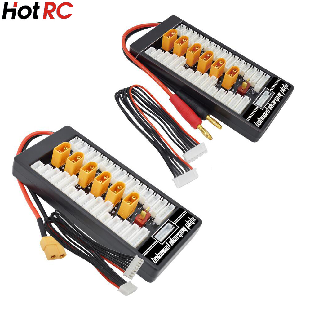 1 piezas HotRc de alta calidad 2 S-6 S XT60 macho paralelo tablero de carga Para la Junta XT60 enchufe 4,0 MM Bananer para Imax B6 B6AC B8 6 en 1