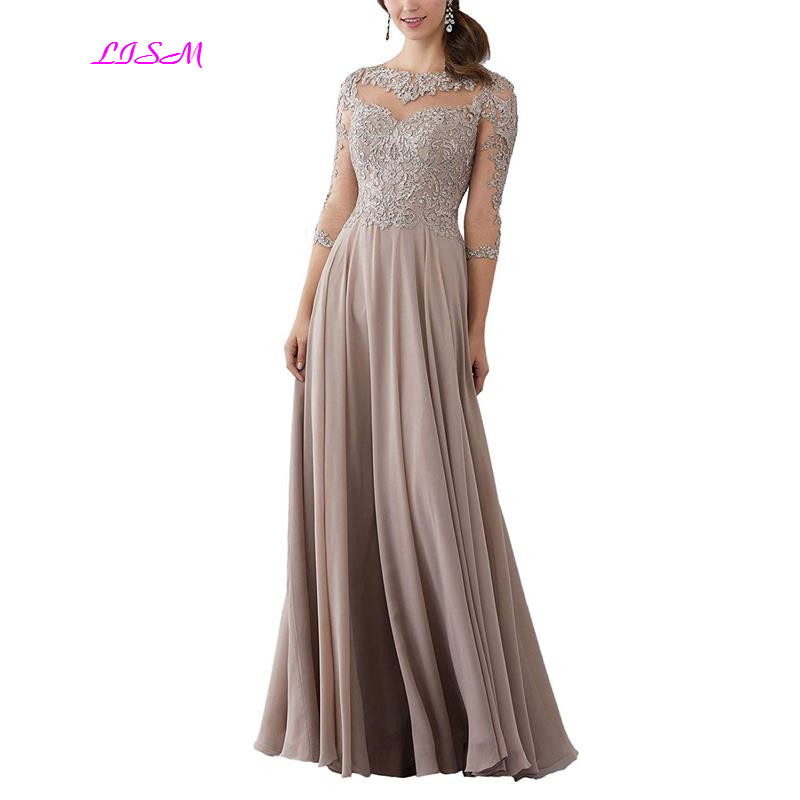 Lace Applique Beaded Mother Of The Bride Dresses Elegant Three Quarter Sleeve Long Chiffon Evening Formal Maxi Dress