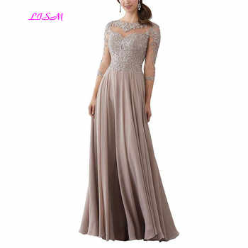 Lace Applique Beaded Mother of the Bride Dresses Elegant Three Quarter Sleeve Long Chiffon Evening Formal Maxi Dress - DISCOUNT ITEM  24% OFF All Category