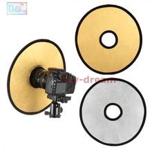 Reflector hueco para fotografía de estudio y cámara fotográfica, luz plegable redonda de 30cm 2 en 1 dorada y plateada