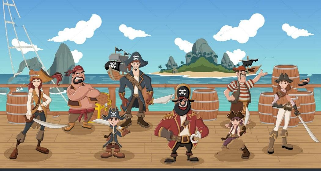 Пиратский группа мультфильм стойки корабль тема фон винил ткань высокого качества компьютер печати вечерние фото фон