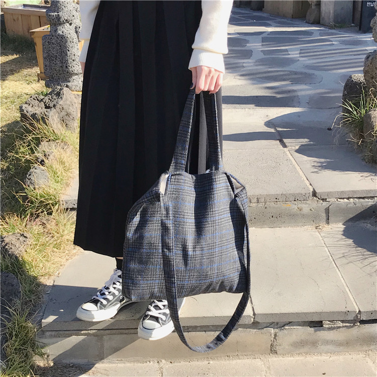 Plaid women 39 s bag new woolen simple art single shoulder crossbody bag female hundred lazy sail bag casual Portable in Shoulder Bags from Luggage amp Bags