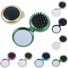 7 Colors Portable Round Folding Massage Comb Hair Brush With Mirror Compact Travel Pocket Bag Comb Easy To Carry For Women