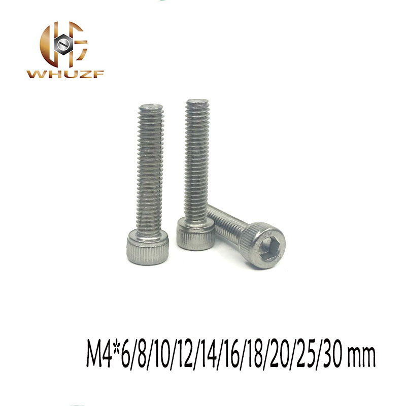 50pcs <font><b>M4</b></font>*6/8/10/12/14/16/18/20/25/<font><b>30</b></font> mm Allen Hex Socket Head Screw Bolt <font><b>M4</b></font> Stainless Steel hexagon Screws Furniture Fastener image