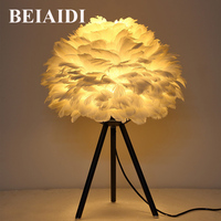 BEIAIDI Modern Creative Feather Light E27 Table Lamp Feather Bedside Desk Vintage Night Light For Baby Kids Children Bedroom
