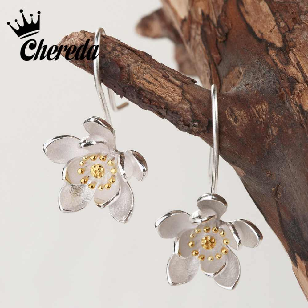 Chereda New Fashion    Lotus Drop Earring Bloom Flower Dangler Earing Elegant Girl Modern Jewelry