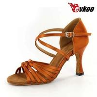 Evkoodance Latin Salsa Tango Dance Shoes For Ladies 7cm Heel Height Professional Tan Satin Shoes For Women Evkoo 045