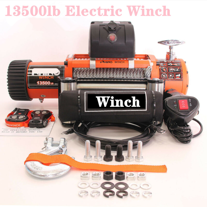12v 13500lb Electric Winch Heavy Duty ATV Trailer  High Tensile Steel Cable  Remote Control Set Electric Winch