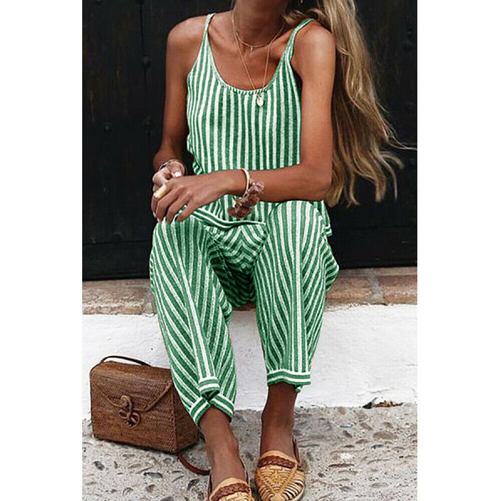 2019 New  Womens Jumpsuit Strap Striped Ladies Summer Clubwear Holiday Beach Wide Leg Holiday Playsuit Sunsuit