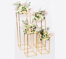 Coluna de ouro suporte à prova ferrugem decoração festa casamento piso suporte geométrico peça central prop arte ferro destacável flor rack