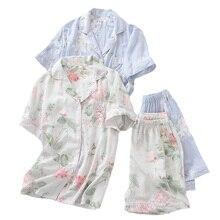 2 adet pijama seti kadın basit tarzı pijama 2019 yaz yeni çiçek baskılı turn aşağı yaka üst + şort konfor ev tekstili seti