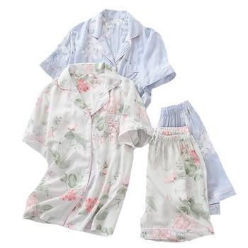 2Pcs Pajamas Set Women Simple Style Sleepwear 2019 Summer New Floral Printed Turn-down Collar Top+Shorts Comfort Homewear - discount item  25% OFF Women's Sleep & Lounge
