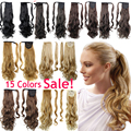 24In Synthetic Hair Ponytail Long Wavy Curly Clip In Hairpiece Ponytails Hair Extensions Fake Hair Pony Tails Hair Pieces Ribbon