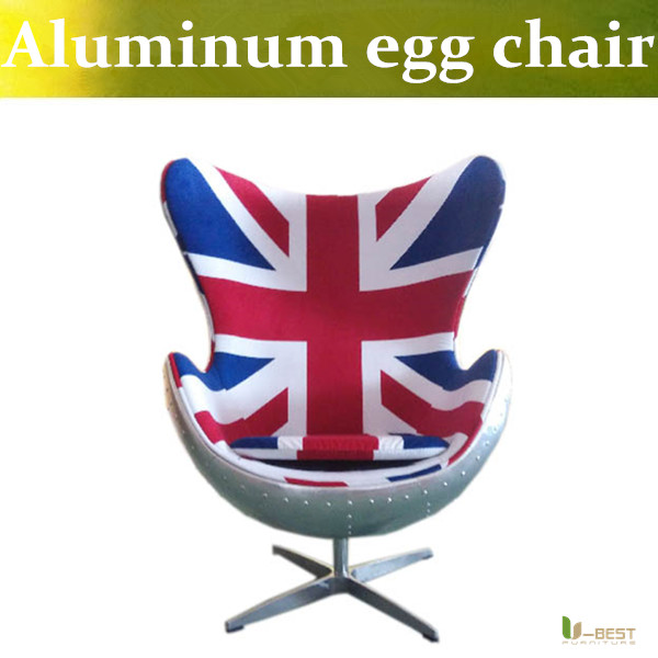 u best leisure arne jacobsen egg chair in red wool aluminum egg pod chair for the lobby and reception areas of the royal hotel U-BEST Spitfire AJ Egg Chair aluminium shell in Flag pattern fabric,Egg Chair With Aluminum Base