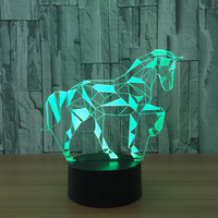 7 Color Horse 3D LED Lamp Visual Led Night Lights For Kids Touch USB Table Lampara