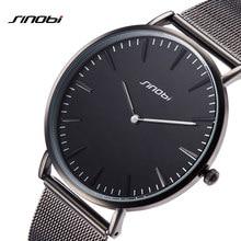 2019 SINOBI New Fashion Simple Street Leisure Men Watches Black Mesh Stainless Steel/Leather Slim Quartz Casual Watch Men Clock все цены
