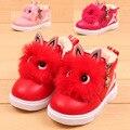 XZ Кожаная Обувь Для Девочек Руно Внутренний 3D Милые Глаза Зима теплые Ботинки Infantil Плоские Кроссовки Молнии Легко Носить Новорожденных Девочек красный