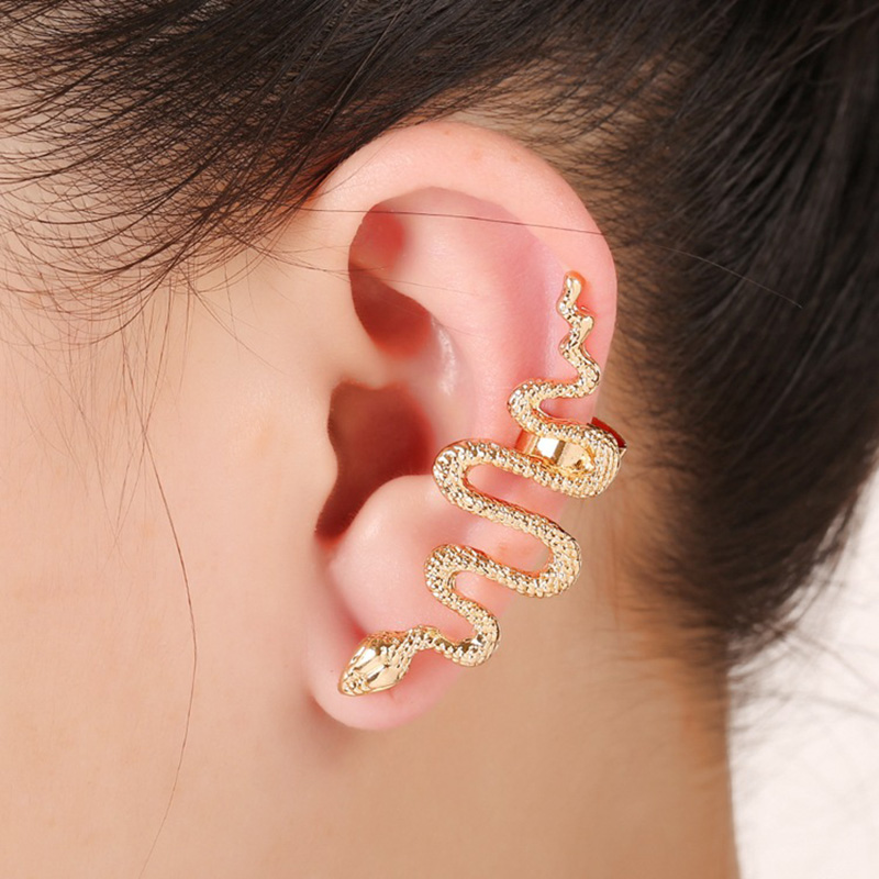 1 Piece Hot Women S Cool Snake Shaped Silver Color Gold Sided Clip On No Pierced Ear Penntes Jewelry In Earrings From