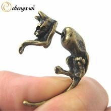 CHENGXUN-pendientes de botón de Animal Retro, 1 par, calibre falso, realista, gato grande, gato, oreja, Piercing, negro, latón