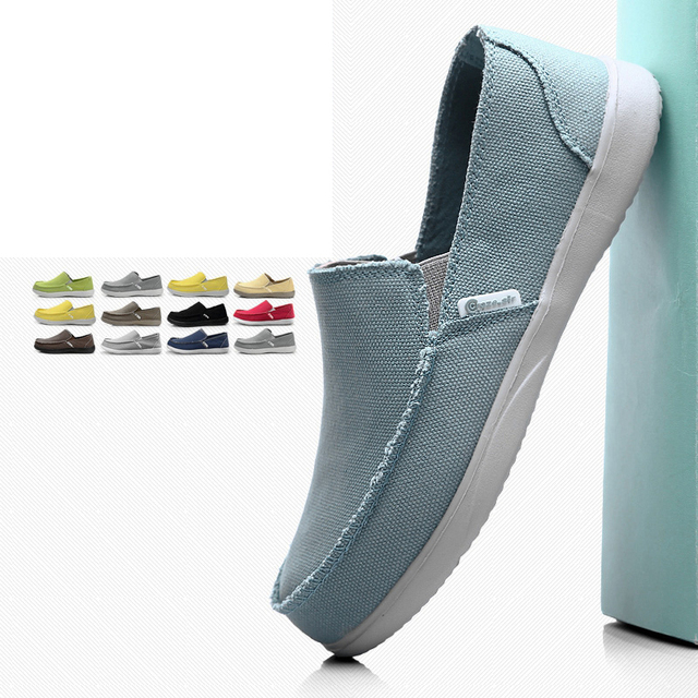 Men Canvas Shoes Breathable Casual Shoes Men Shoes Loafers Comfortable Ultralight Lazy Shoes Flats