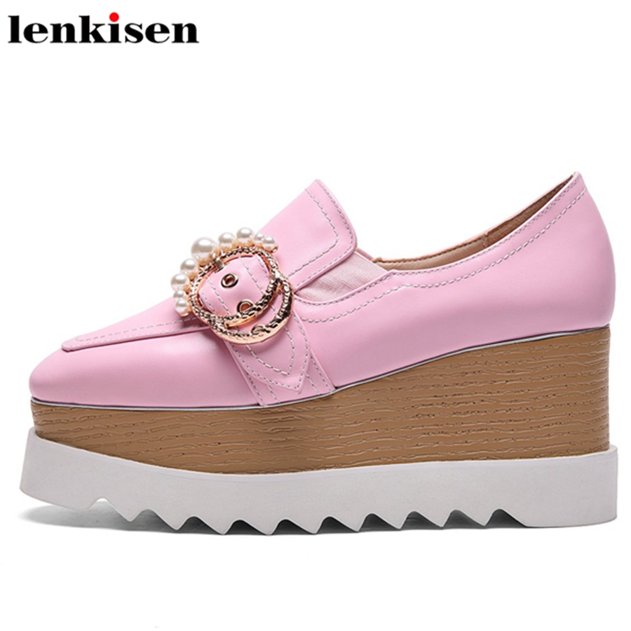 Lenkisen lace up platform metal buckle pearl square toe spring causal shoes wedges high heels solid party sweet women pumps L87